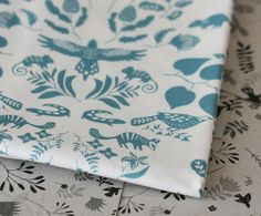 Swan River Colony Damask - Half Yard of Fabric - Turquoise on White