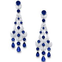 Multi-shape diamonds and sapphire chandelier earrings; Graff.
