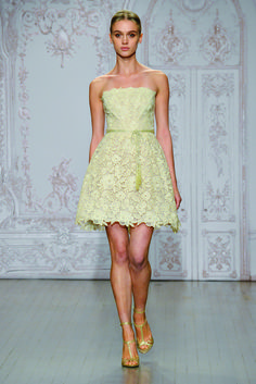 Strapless wedding dress in light green by Monique Lhuillier Fall/Winter 2015. Article: 18 Chic Short Wedding Dresses for Laid-Back Brides. Photography: Courtesy of Monique Lhuillier. Read More: http://www.insideweddings.com/news/fashion/18-chic-short-wedding-dresses-for-laid-back-brides/2012/