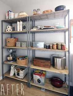 You Won't Believe This Easy Pantry Shelving Makeover Hoping to use this as inspiration for the shelves I'm putting into my bedroom. Rustic farmhouse pantry shelving makeover from basic wire shelving Wire Pantry Shelves, Wire Shelving Units, Metal Shelves, Wire Shelving Kitchen, Rustic Shelves, Open Shelves, Wire Rack Shelving, Utility Shelves, Shelf Makeover