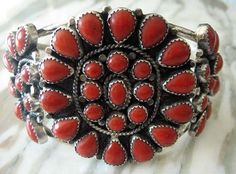 Vintage Native American Sterling and Red Coral Bracelet