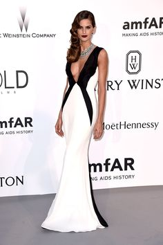 Inspired by Izabel Goulart Celebrity Dresses Mermaid Black and White Sexy Deep V Neck Prom Dresses Evening Formal Gowns