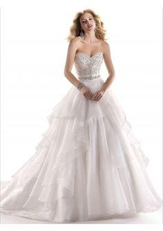 Organza Strapless Sweetheart Neckline Layers A-line Wedding Gown WS021