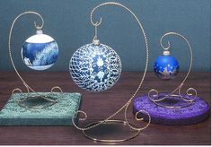 Ornament  Stands - Twisted Wire Scroll Base