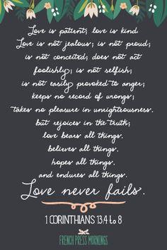 Love never fails 1 Corinthians 13:4-8