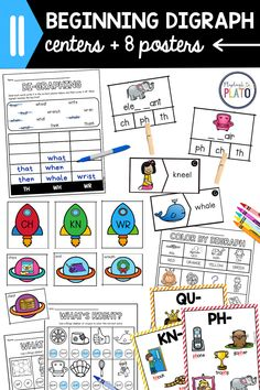 These digraph activities are a must for the classroom! Kids will play bingo, color, sort and clip, use posters for reference and so much more! The centers make it fun to practice the most popular beginning digraphs in words: CH, KN, NG, PH, QU, SH, TH, WH, and WR. #infectionalcenter #digraph #beginningdigraphs Fun Phonics Activities, Reading Activities, Reading Skills, Kindergarten Centers, Kindergarten Reading, Literacy Centers, Reading Comprehension Strategies, Homeschool Curriculum, Bingo