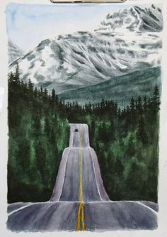 Best painting watercolor mountains artists Ideas - Painting Ideas On Canvas Simple Acrylic Paintings, Nature Paintings, Acrylic Painting Canvas, Canvas Art, Watercolor Landscape Paintings, Watercolor Ideas, Landscape Art, Road Painting, Forest Painting