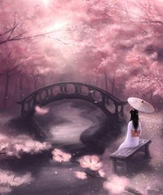"""""""There by the water sits a pretty maiden watching the water move along. She sees the lovely blossoming cherry tree and her heart is filled with song."""""""