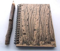 Aspen Tree Journal/Notebook with Rustic Aspen Twig Pen  - 5 x 7 inches