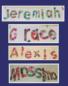 Bulletin board of Names and letter recognition, M is for Mosaic, Art projects for name recognition