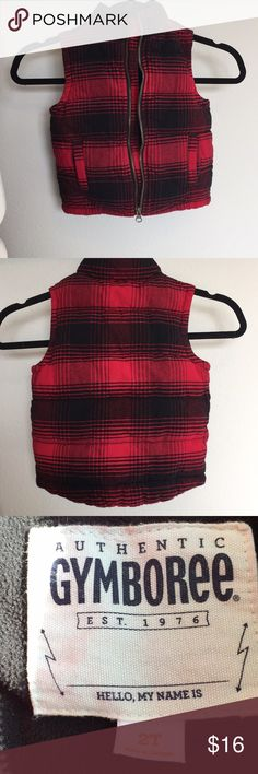 2T Gymboree vest, red and black paid hipster baby 2t Gymboree vest, buffalo plaid look. Warm vest, perfect for spring weather. Used but great condition, lots of outside plays left in this vest. Gymboree Jackets & Coats Vests