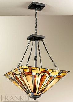 Franklite FL2261/4/T130 Charleston Bronze 4 Light Ceiling Light With Tiffany Shade