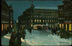 Kunstnerkort fra Egertorget signert Olaf Krohn Brukt 1891 Utg Abels kunstforlag