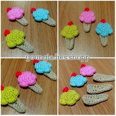 Crochet Ice Cream Applique (*'∇'*)// =================================Now it's very very hot. I thought of lemon sorbets ice cream. Crochet Bows Free Pattern, Crochet Motif, Crochet Designs, Crochet Doilies, Free Crochet, Crochet Hair Clips, Crochet Mask, Crochet Hair Styles, Crochet Food