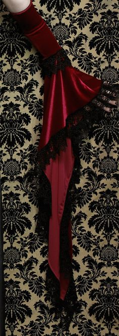 Lucilla Long Bell Sleeve Velvet Gloves or Arm by rosemortem