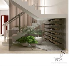 Wine under the stairs Farmhouse Remodel, House Inspiration, House Design, Interior Deco, House Stairs, Modern Interior Design, Interior Garden, Home Decor, House Interior