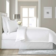 Wamsutta® Baratta Stitch Cotton 15-Inch Drop Bed Skirt white in queen