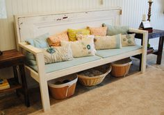 bench made from old door. I so love this.  I just found two old doors!!