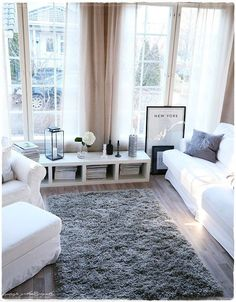 light, white and grey room - Living room