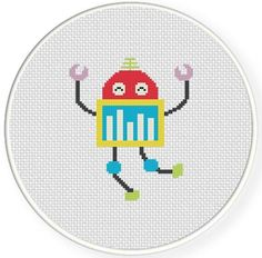 Happy Robot Cross Stitch Pattern
