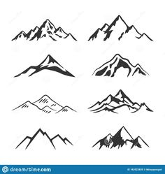 Illustration about Collection mount hill design a illustrator vector of Mountain Silhouette Clipart 8 set. Illustration of banner, hill, climbing - 162922835 Small Mountain Tattoo, Mountain Tattoo Design, Mountain Designs, Mountain Sketch, Mountain Drawing, Mini Tattoos, Small Tattoos, Montain Tattoo, Mountain Clipart