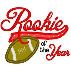 Rookie of the Year Applique - 3 Sizes! | Football Applique Machine Embroidery Designs | Machine Embroidery Designs | SWAKembroidery.com