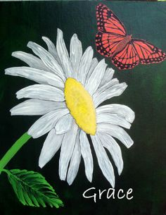 """Daisy & Butterfly Art - """"Grace"""" - Painting by Lorraine Skala - Visit my Etsy Shop to purchase notecards & prints"""