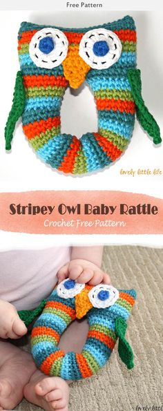 This Stripey Owl Baby Rattle Crochet Free Pattern is a cute pattern that's the perfect baby toy. Make one now with the free pattern provided by the link below. Crochet Hedgehog, Crochet Panda, Crochet Monkey, Crochet Turtle, Crochet Baby, Crochet Dragonfly Pattern, Owl Crochet Pattern Free, Baby Knitting Patterns, Free Crochet