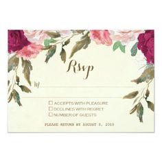 wedding rsvp card ivory burgundy floral