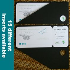 A+ Black Jacket Boarding Pass Invitations SALE $187.90 These boarding pass invitations feature a unique black boarding pass jacket with your wedding invitation inside. The insert can be customized to the max. Choose your inner layout, motif, graphic and text colors. Easy assembly required.
