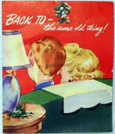 #58 40s Couple Under the Mistletoe, Vintage Christmas Card-Greeting