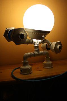 Lamp, galvanized lamp, mood lighting, Led lighting, desk lamp, cute table lamp... Mr. Strong.. Punk Trek www.punktrek.com www.facebook.com/punktrek