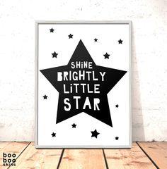 Shine Brightly Little Star Nursery Print Poster Art for Boys Room Girls Room Kids Room Picture | Scandi Nursery Art | Modern Nursery Print by boobooskins on Etsy #bold #monochrome #simple #kids #art #bedroom #girlsroom #boysroom #newbaby #nursery #art #picture #papercut #shine #bright #scandi #nordic #modern #minimalist