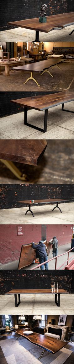 SENTIENT live edge tables are made using sustainably-sourced American black walnut, spalted maple, cherry, oak and occasionally other hardwoods. Each table top is protected with several coats of deep sealer, and also preserved with top finishing coats. Live Edge Wood, Live Edge Table, Walnut Dining Table, Dining Room Table, Future House, My House, Wood Furniture, Furniture Design, Spalted Maple