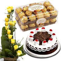 Yellow Rose Basket 1/2 Kg Black Forest Cake 16 Pcs Ferrero Rocher