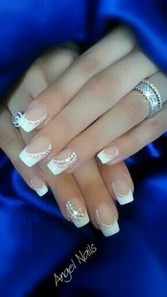 Image via 45 Chic White Nails Art Designs to try in 2015 Image via 100 Delicate wedding nail ideas. Like these fancy Silver and gem wedding nails. Image via 50 simple nail art des Fabulous Nails, Gorgeous Nails, Fancy Nails, Trendy Nails, Hair And Nails, My Nails, Valentine's Day Nail Designs, Bride Nails, Wedding Nails Design