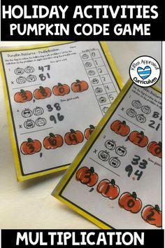 Pumpkin Math Multiplication Grade 4 and 5 Two Digit Multiply 6th Grade Activities, Multiplication Activities, Classroom Activities, Math Worksheets, Classroom Ideas, Thanksgiving Writing, Thanksgiving Activities, Christmas Activities, Mastering Math