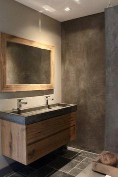 concrete look ideal interior in . - Lilly is Love Rustic Bathroom Decor, Bathroom Inspo, Bathroom Colors, Bathroom Styling, Bathroom Inspiration, Bathroom Sink Units, Bathroom Toilets, Bathroom Design Small, Bathroom Interior Design
