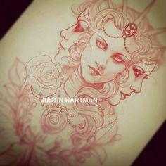 Sketch by tattoo artist Justin Hartman