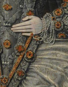 Portrait of an Elizabethan Woman, 1600. Detail.