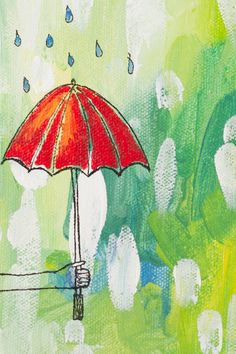 Umbrella Rain Green and Red Illustration Whimsical by JoyfulRoots