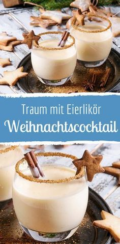 Christmas cocktail with eggnog, milk & cinnamon - Getränke - Weihnachten Smoothie Recipes, Snack Recipes, Smoothies, Drink Recipes, Snacks Sains, Christmas Cocktails, Pumpkin Spice Cupcakes, Vegetable Drinks, Fall Desserts