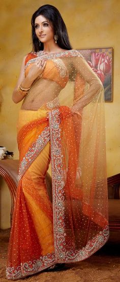 $231.73 Orange Stone Work Net Party Wear Saree 22843