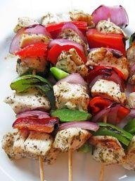 www.gaea.gr  Marinated Greek Chicken Skewers