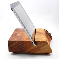 """Wood iPad Stand from Block & Sons Co. Article. No. 1302. Ansders 8"""" wide Maple iPad stand / block. $95.00, via Etsy."""