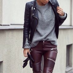 pants oxblood pants burgundy pants leather jacket zippers jacket leather pants faux leather biker trousers biker burgundy leather with zippers faux leather pants burgundy jeans purple leather sexy grey sweater black jacket winter swag earphones sweater marsala leather pants
