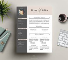 Feminine Resume Design | CV by This Paper Fox on @creativemarket Ready for Print Resume template examples creative design and great covers, perfect in modern and stylish corporate business. Modern, simple, clean, minimal and feminine layout inspiration to grab some ideas.