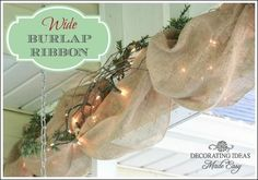 Burlap Ribbon Ideas- Outdoor decor with white lights. Would be cool on the porch at Christmas time. Burlap Christmas, Noel Christmas, Outdoor Christmas, Country Christmas, All Things Christmas, Christmas Crafts, Christmas Decorations, Holiday Decor, Burlap Decorations