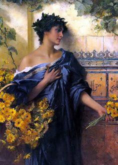 ⊰ Posing with Posies ⊱ paintings of women and flowers - Conrad Kiesel (1846-1921)