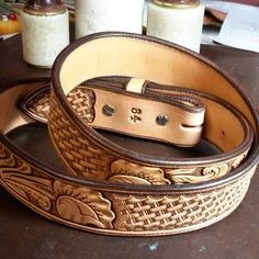 Custom belt with floral and basket tooling by 33 Ranch & Saddlery Leather Tool Belt, Custom Leather Belts, Leather Art, Leather Jewelry, Custom Belts, Handmade Leather, Tooled Leather, Leather Notebook, Leather Journal